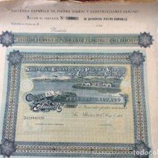 Coleccionismo Acciones Españolas: ACCION DE LA SOCIEDAD ESPAÑOLA DE PIEDRA VIDRIO Y CONSTRUCCIONES GARCHEY 1902. Lote 163835338