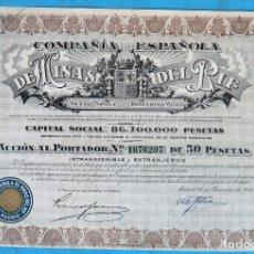 Coleccionismo Acciones Españolas: ACCION COMPAÑIA ESPAÑOLA DE MINAS DEL RIF , 1946 , ANTIGUA, ORIGINAL. Lote 288875323