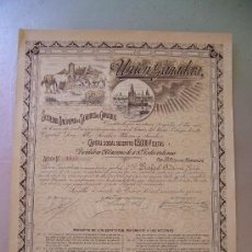 Coleccionismo Acciones Españolas: TORRE DEL ORO 1915 SEVILLA UNIÓN GANADERA SOCIEDAD ANÓNIMA SEGUROS GANADOS ACCIÓN 50 PESETAS SEVILLA. Lote 164220458