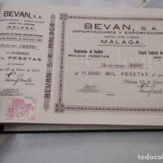Coleccionismo Acciones Españolas: LOTE DE 300 ACCIONES BEVAN MALAGA, EN SU ÁLBUM ORIGINAL. Lote 164679846