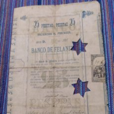 Coleccionismo Acciones Españolas: MUY RARA OBLIGACIÓN DE 25 PESETAS DE 1883 BANCO DE FELANITX MALLORCA AÑO DE SU FUNDACIÓN.. Lote 163735341