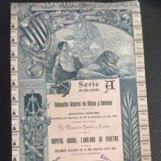 Coleccionismo Acciones Españolas: COMPAÑIA GENERAL DE MINAS Y SONDEOS - BARCELONA 1901 - ACCION SERIE A - ACCIONES DE 50 PTAS Nº 1101. Lote 165307146