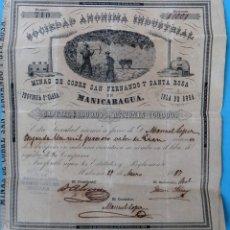 Coleccionismo Acciones Españolas: ACCION SOCIEDAD ANONIMA INDUSTRIAL ,MINAS COBRE ,MANICARAGUA, CUBA 1887 , EPOCA ESPAÑOLA , J. Lote 165366818