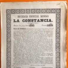 Coleccionismo Acciones Españolas: CUEVAS ALMANZORA- ALMERIA- MURCIA- S.E.M. LA CONSTANCIA- MINA VIRGEN DEL CARMEN - 1.872. Lote 165486402