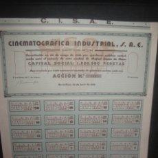 Coleccionismo Acciones Españolas: ACCION CINEMATOGRAFICA INDUSTRIAL S.A.E. BARCELONA 25 JUNIO DE 1934. TODOS LOS CUPONES. C.S.I.A.E.. Lote 165586874