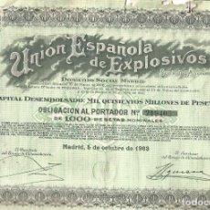 Collectionnisme Actions Espagne: UNION ESPAÑOLA DE EXPLOSIVOS OBLIGACION 1963. Lote 165769558