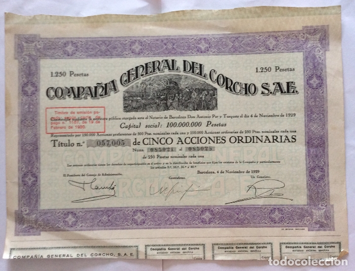 ACCION DE LA COMPAÑIA GENERAL DEL CORCHO - TITULO Nº 057,005 DE CINCO ACCIONES - BARCELONA - 1929 (Coleccionismo - Acciones Españolas)