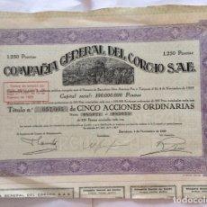 Coleccionismo Acciones Españolas: ACCION DE LA COMPAÑIA GENERAL DEL CORCHO - TITULO Nº 057,005 DE CINCO ACCIONES - BARCELONA - 1929. Lote 165863926