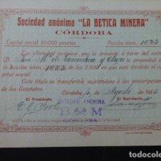 Coleccionismo Acciones Españolas: ACCION SOCIEDAD ANONIMA LA BETICA MINERA CORDOBA 1916. Lote 166057118