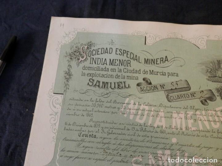 284/ accion minera, 1879, sociedad india menor, - Vendido en Subasta ...