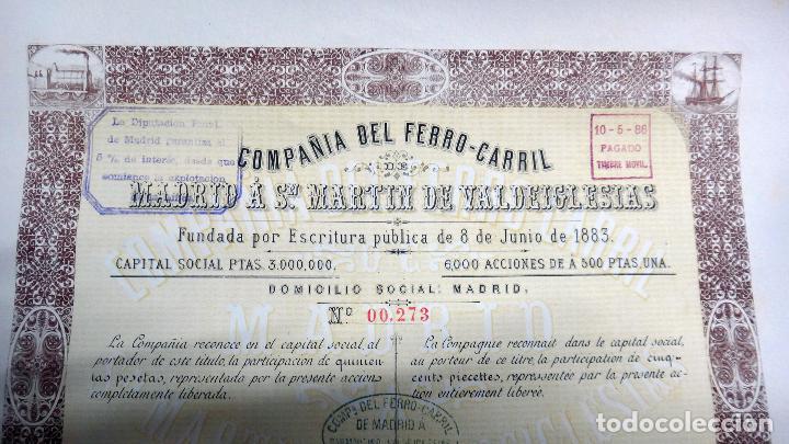 Coleccionismo Acciones Españolas: ACCION COMPAÑIA DEL FERROCARRIL , MADRID A SAN MARTIN DE VALDEIGLESIAS , 1883 - Foto 2 - 166496858