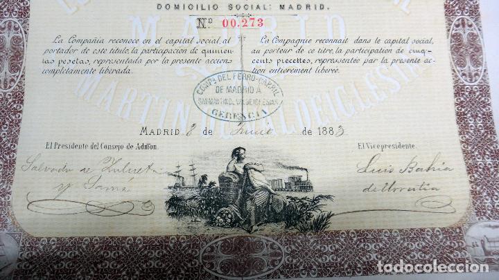 Coleccionismo Acciones Españolas: ACCION COMPAÑIA DEL FERROCARRIL , MADRID A SAN MARTIN DE VALDEIGLESIAS , 1883 - Foto 3 - 166496858