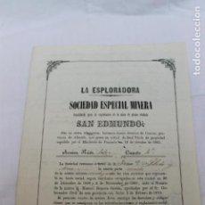 Coleccionismo Acciones Españolas: SOCIEDAD ESPECIAL MINERA LA ESPLORADORA, MINA DE PLOMO SAN EDMUNDO, SIERRA ALMAGRERA 1870. Lote 166949352