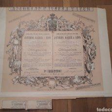 Coleccionismo Acciones Españolas: COMPAÑÍA DE LOS FERRO-CARRILES DE ASTURIAS, GALICIA Y LEÓN (1885). Lote 167059750