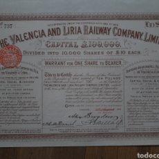 Coleccionismo Acciones Españolas: THE VALENCIA AND LIRIA RAILWAY COMPANY LIMITED (1888). Lote 167073768