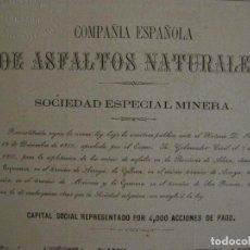 Coleccionismo Acciones Españolas: ACCION-COMPAÑIA ESPAÑOLA ASFALTOS NATURALES-MINERIA-BARCELONA-12 ENERO 1861-MINAS-VER FOTOS-V-17.348. Lote 167151540