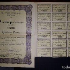 Coleccionismo Acciones Españolas: ACCION PREFERENTE DE EL FINANCIERO MADRID 1922. Lote 167759652