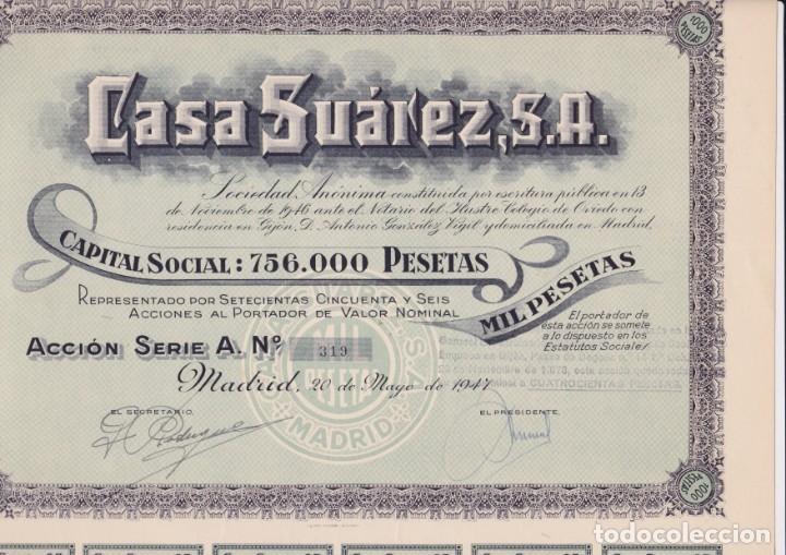 ACCIÓN DE CASA SUÁREZ S.A. MADRID, 20 DE MAYO DE 1947 (Coleccionismo - Acciones Españolas)