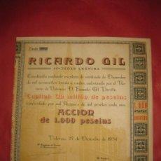 Coleccionismo Acciones Españolas: ACCION RICARDO GIL SOCIEDAD ANONIMA. VALENCIA 27 SEPTIEMBRE 1934.. Lote 168276592