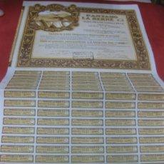 Coleccionismo Acciones Españolas: ACCION - OBLIGACION PANTANO LA BERNE. EGEA DE LOS CABALLEROS 1929. CON 83 CUPONES.. Lote 168276796