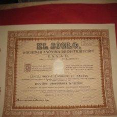 Coleccionismo Acciones Españolas: ACCION EL SIGLO SOCIEDAD ANONIMA DE DISTRIBUCION. BARCELONA 1942.CON CUPONES.. Lote 168279656
