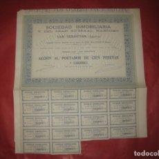 Coleccionismo Acciones Españolas: ACCION SOCIEDAD INMOBILIARIA Y DEL GRAN KURSAAL MARITIMO. SAN SEBASTIAN 1911. CON CUPONES. Lote 168279868