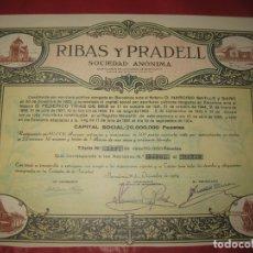 Coleccionismo Acciones Españolas: ACCION RIBAS Y PRADELL. BARCELONA 1964.. Lote 168280004
