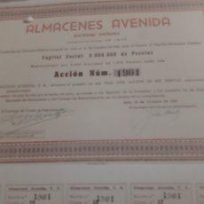Coleccionismo Acciones Españolas: ACCIÓN, ALMACENES AVENIDA SA, ACCIONES. Lote 169360110