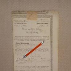 Coleccionismo Acciones Españolas: SOCIEDAD ESPECIAL MINERA LA PROVIDENCIA SIERRA ALMAGRERA CUEVAS LORCA 1870 MURCIA. Lote 169771148