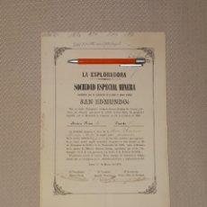 Coleccionismo Acciones Españolas: SOCIEDAD ESPECIAL MINERA LA LA ESPLORADORA MINA SAN EDMUNDO SIERRA ALMAGRERA LORCA 1870. Lote 235311410