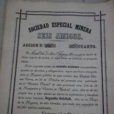 Coleccionismo Acciones Españolas: ACCIÓN DE MINAS SOCIEDAD ESPECIAL MINERA SEIS AMIGOS AÑO 1881. Lote 170699460