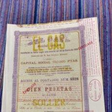 Coleccionismo Acciones Españolas: 1939 BONITA Y ANTIGUA ACCIÓN 100 PESETAS DE EL GAS DE SÓLLER EN MALLORCA DOS HOJAS DIVERSOS SELLOS.. Lote 171205755