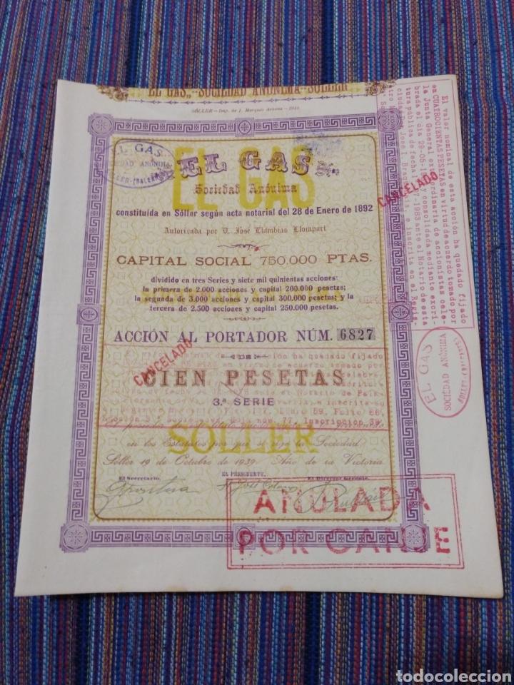 1939 BONITA ACCIÓN DE 100 PESETAS EL GAS SÓLLER MALLORCA (Coleccionismo - Acciones Españolas)