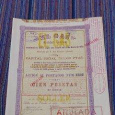 Coleccionismo Acciones Españolas: 1939 BONITA ACCIÓN DE 100 PESETAS EL GAS SÓLLER MALLORCA. Lote 171205985