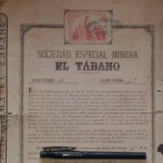 Coleccionismo Acciones Españolas: EL TABANO SOCIEDAD ESPECIAL MINERA LA UNIÓN CARTAGENA MURCIA 1880. Lote 171268955
