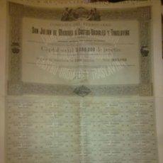 Coleccionismo Acciones Españolas: COMPAÑIA FERROCARRIL SAN JULIAN DE MUSQUES A CASTRO-URDIALES Y TRASLAVIÑA. MODELO RARO.55 X 43 CM. Lote 171663647
