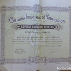 Coleccionismo Acciones Españolas: COMPAÑIA INDUSTRIAL DE PANIFICACION ACCION 1000 PESETAS 1935 MADRID ESCUDO REPUBLICA. Lote 172079844