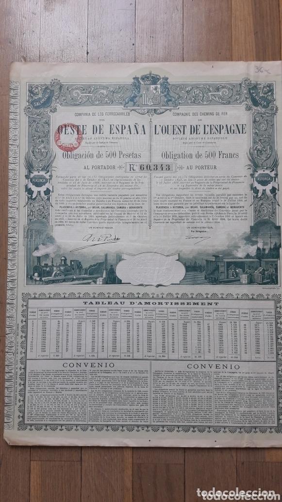 Coleccionismo Acciones Españolas: FERROCARRILES DEL OESTE DE ESPAÑA (PLASENCIA A ASTORGA POR BÉJAR, SALAMANCA, ZAMORA BENAVENTE) 1894 - Foto 2 - 172291258