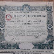 Coleccionismo Acciones Españolas: FERROCARRILES DEL OESTE DE ESPAÑA (PLASENCIA A ASTORGA POR BÉJAR, SALAMANCA, ZAMORA BENAVENTE) 1894. Lote 172291258