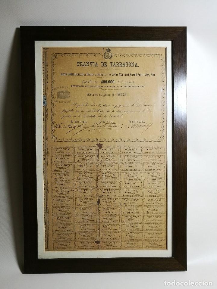 Coleccionismo Acciones Españolas: accion del TRANVIA TARRAGONA DE 1883 - Foto 2 - 172368469