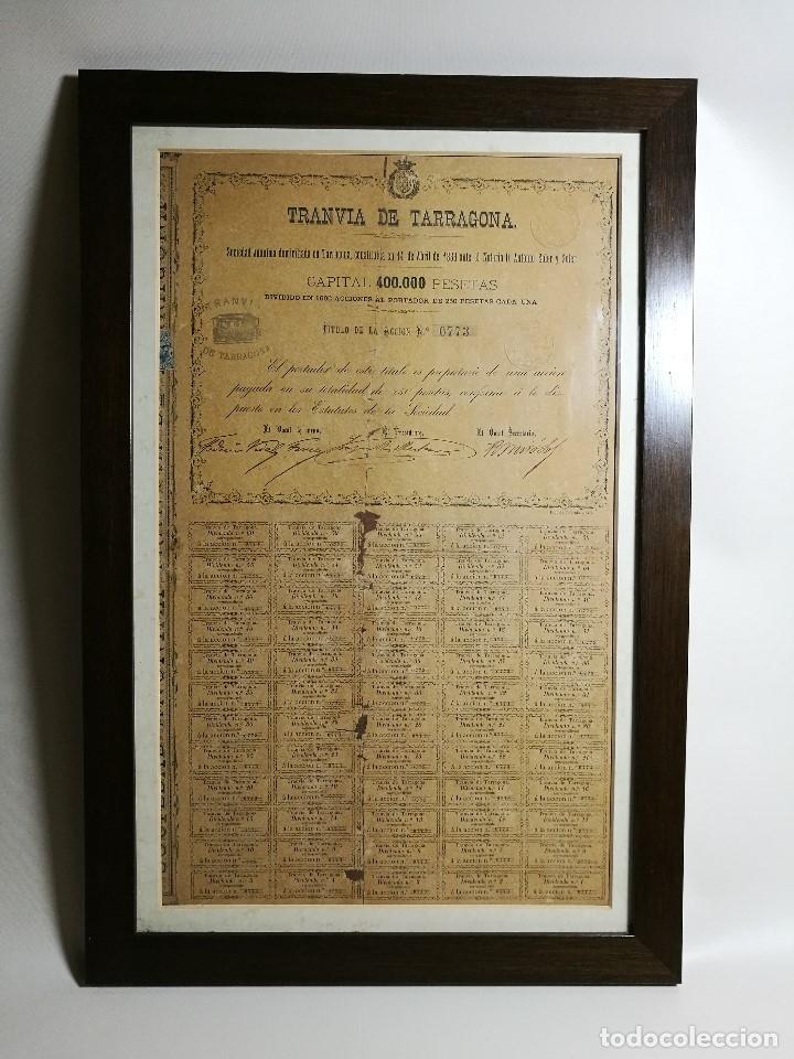 Coleccionismo Acciones Españolas: accion del TRANVIA TARRAGONA DE 1883 - Foto 3 - 172368469