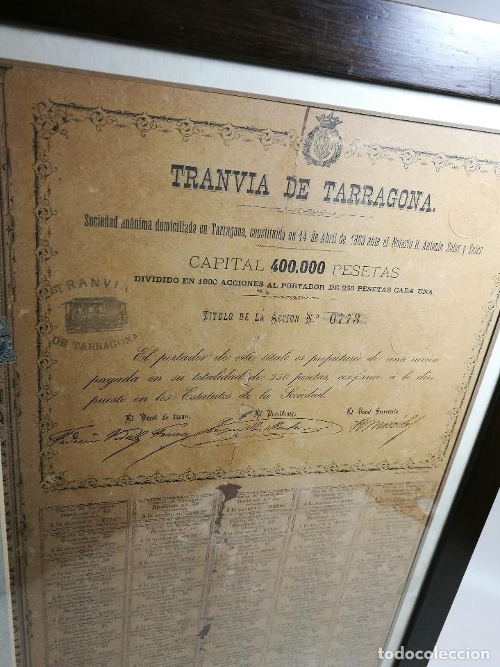 Coleccionismo Acciones Españolas: accion del TRANVIA TARRAGONA DE 1883 - Foto 5 - 172368469