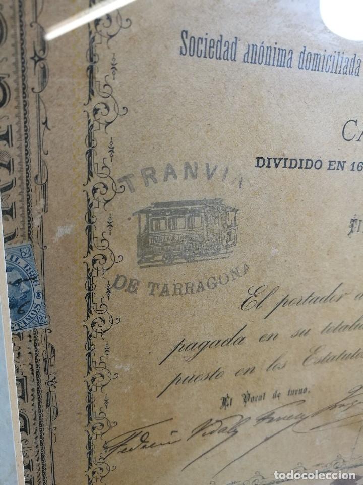Coleccionismo Acciones Españolas: accion del TRANVIA TARRAGONA DE 1883 - Foto 6 - 172368469