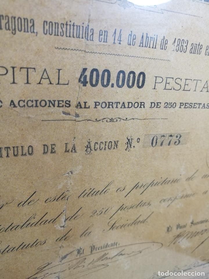 Coleccionismo Acciones Españolas: accion del TRANVIA TARRAGONA DE 1883 - Foto 7 - 172368469