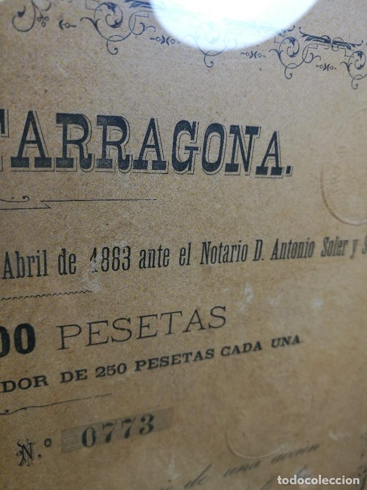 Coleccionismo Acciones Españolas: accion del TRANVIA TARRAGONA DE 1883 - Foto 8 - 172368469