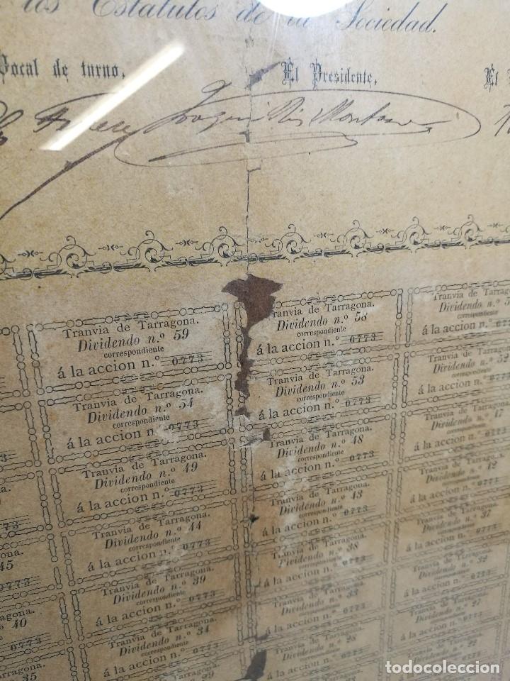 Coleccionismo Acciones Españolas: accion del TRANVIA TARRAGONA DE 1883 - Foto 12 - 172368469
