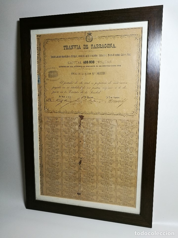 Coleccionismo Acciones Españolas: accion del TRANVIA TARRAGONA DE 1883 - Foto 16 - 172368469