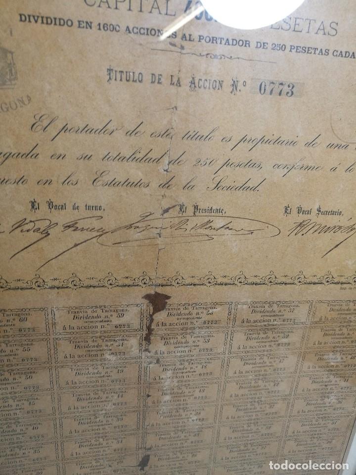 Coleccionismo Acciones Españolas: accion del TRANVIA TARRAGONA DE 1883 - Foto 17 - 172368469
