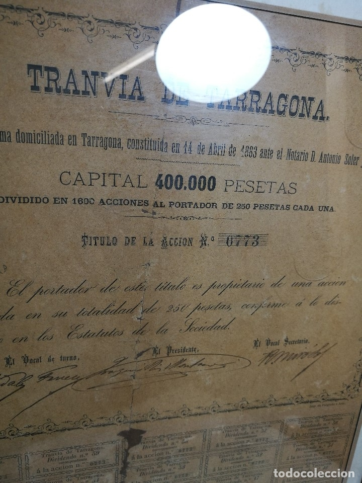 Coleccionismo Acciones Españolas: accion del TRANVIA TARRAGONA DE 1883 - Foto 18 - 172368469