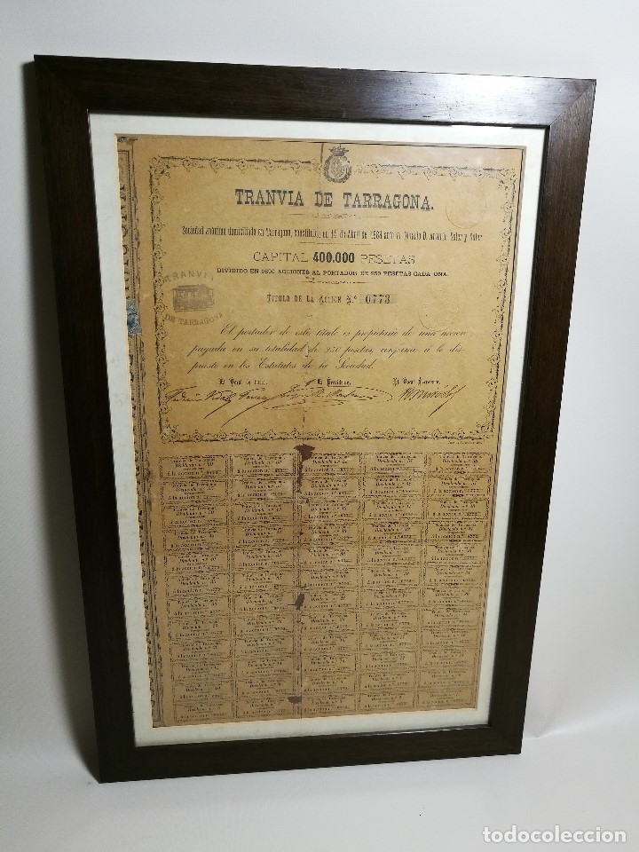 Coleccionismo Acciones Españolas: accion del TRANVIA TARRAGONA DE 1883 - Foto 30 - 172368469